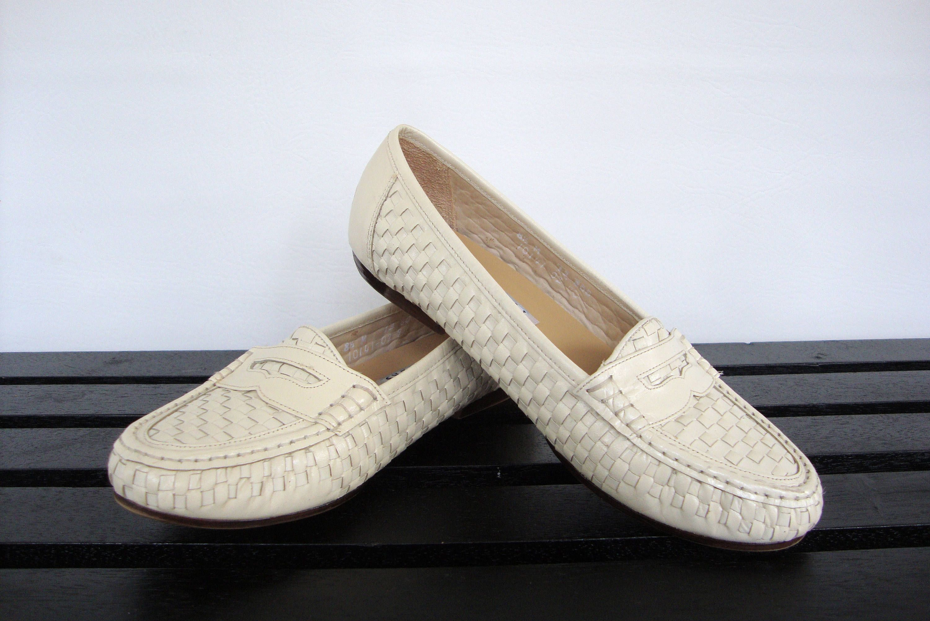 Woven Leather Loafers Womens 8.5 Beige