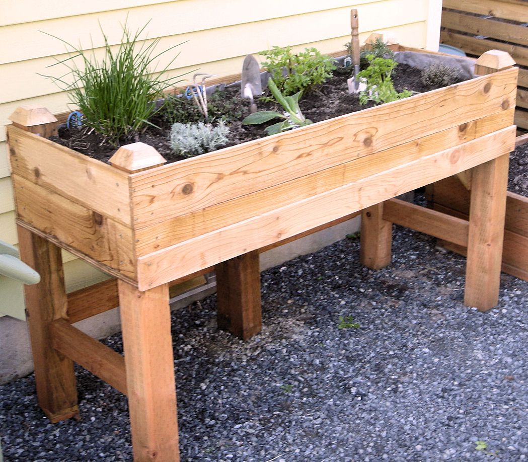 Diy Raised Garden Bed On Legs Raised Garden Bed I Have One On My Deck Like This One