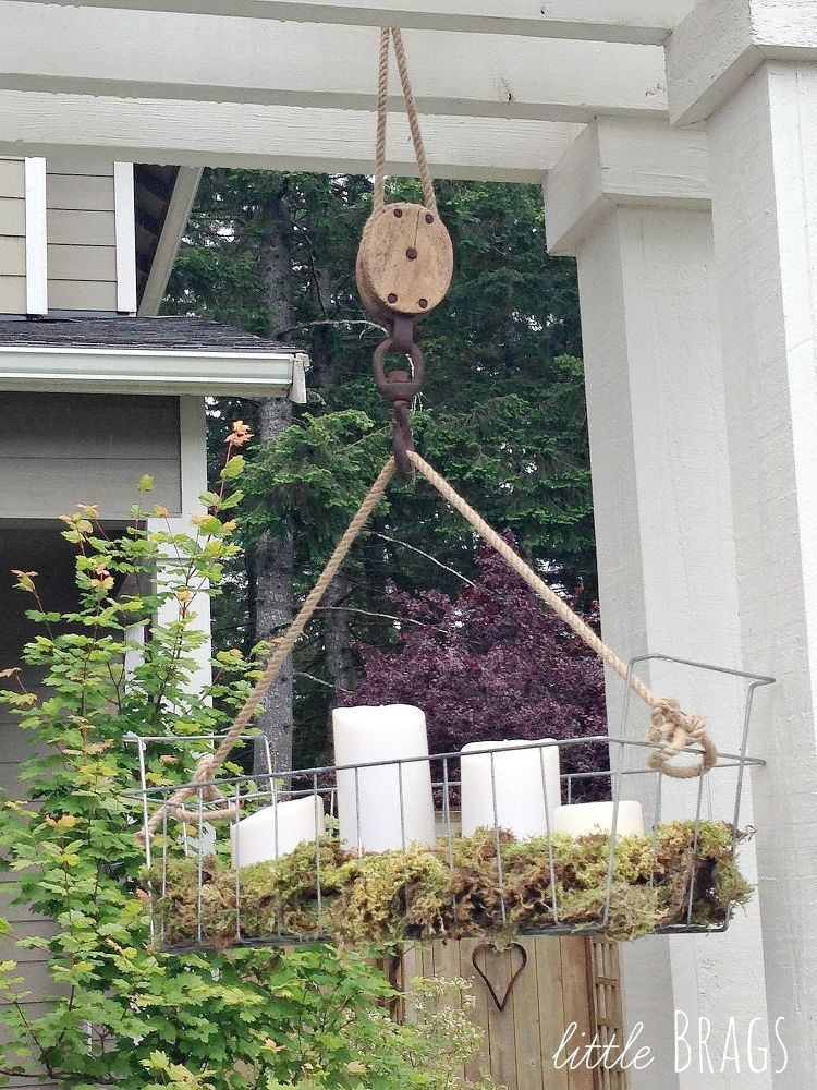 Diy Hanging Wire Basket On An Old Pulley Hanging Wire Basket Diy Hanging Wire Baskets
