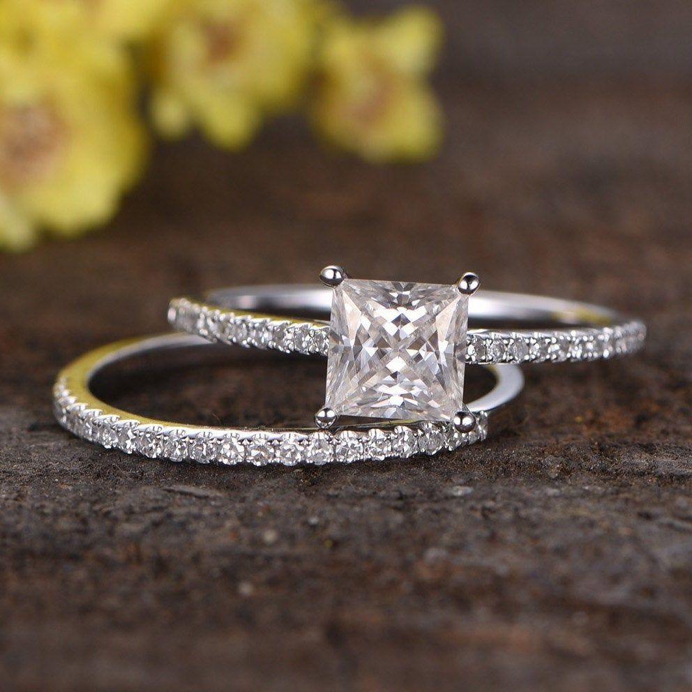 1ctw Moissanite engagement ring set 14K white gold women ring | Etsy