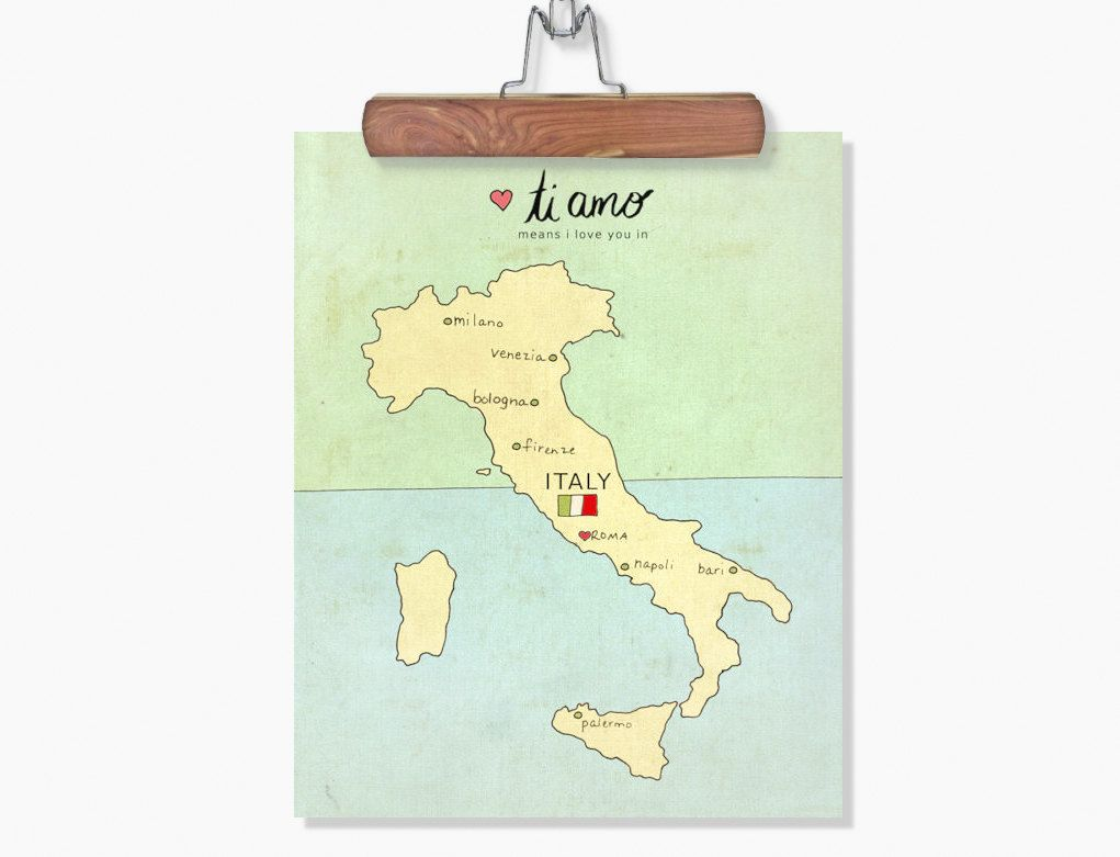 I Love You in Italy // Typographic Print, Italian Map, Giclee ...