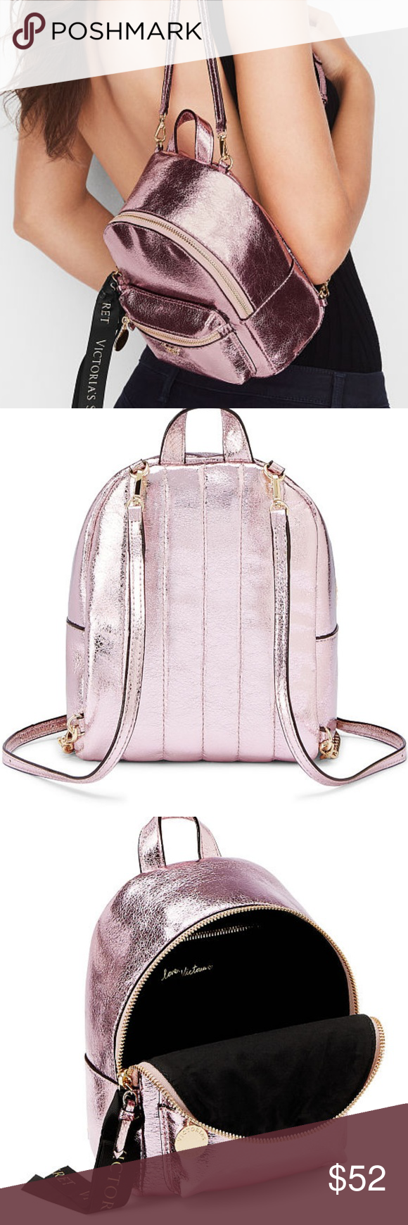 01748874b1 VS Pink Crackle Mini Backpack Purse Victorias Secret Runway Pink Crackle  Mini Backpack Purse SOLD OUT - Gorgeous - Pink Gold Black NWT - In Original  VS ...