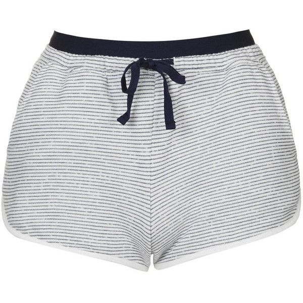 TopShop Petite Stripe Loungewear Short ($23) ❤ liked on Polyvore featuring shorts, blue, relaxed fit shorts, topshop, low rise shorts, low rise short shorts and petite shorts