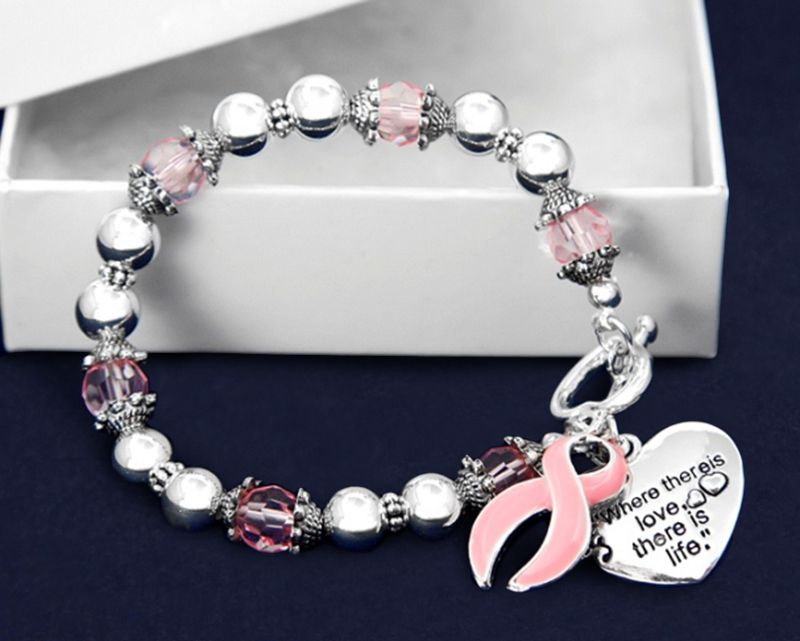 Where There Is Love Pink Ribbon Bracelets (18 Bracelets)