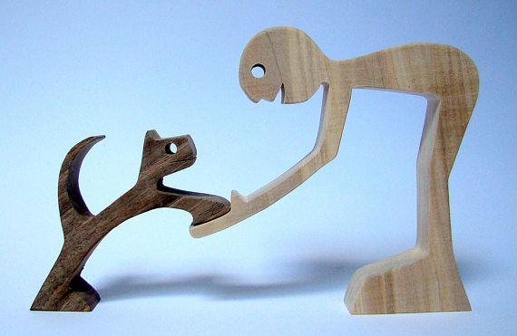 Sculpture bois chantourné quot un homme et son chat Лобзик