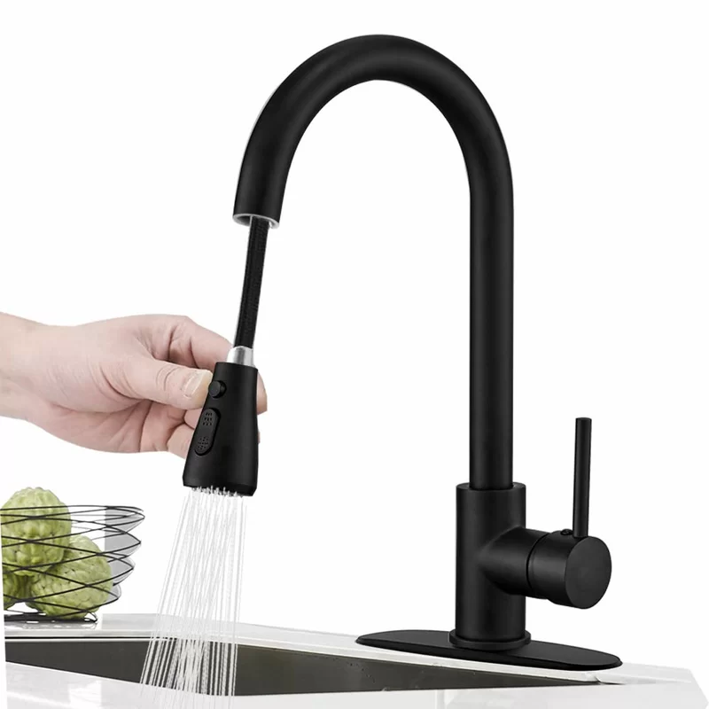 Pull Down Single Handle Kitchen Faucet With Side Spray In 2021 Matte Black Kitchen Faucet Kitchen Faucet With Sprayer Black Kitchen Faucets