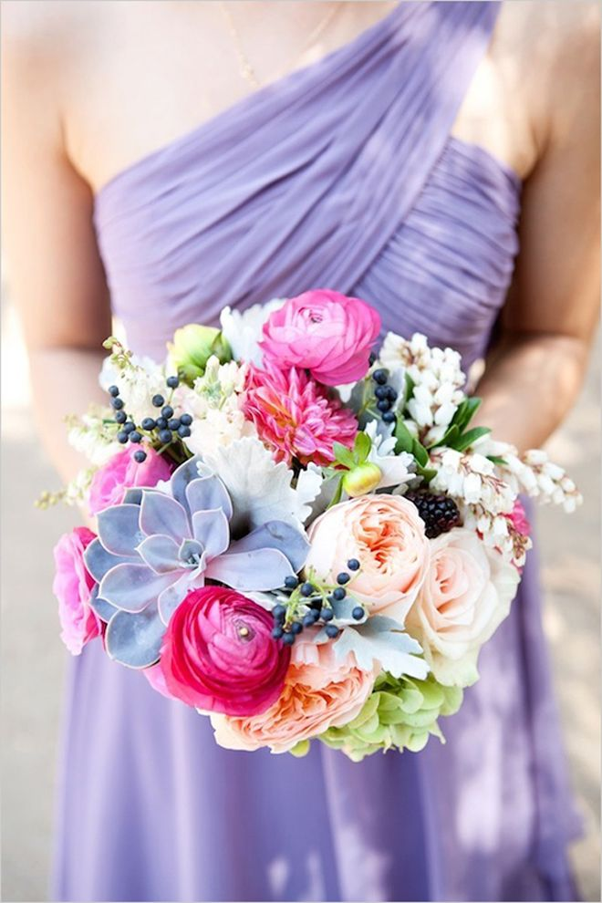 Love the colour of the succulent in this bouquet with lavender bridesmaid dress