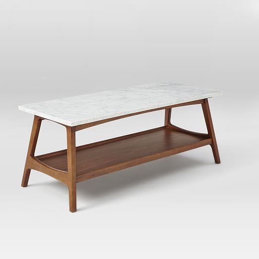 our reeve midcentury rectangular coffee tableu0027s tailored lines and storage shelf make it a great smallspace solution while its marble veneer top gives it