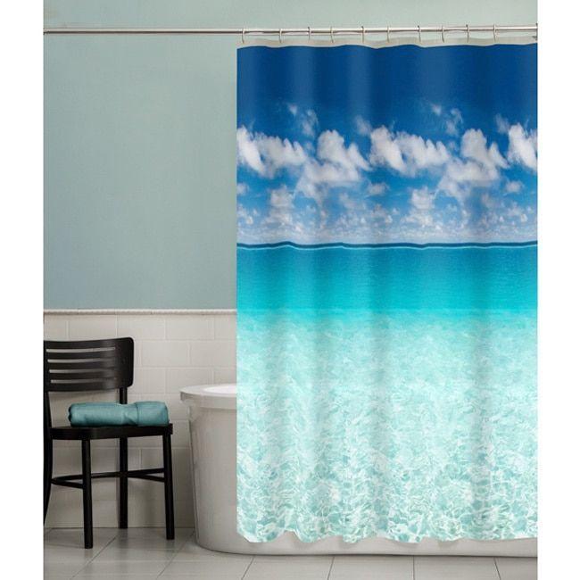 Maytex Escape Ocean Photoreal Peva Shower Curtain Blue Beach