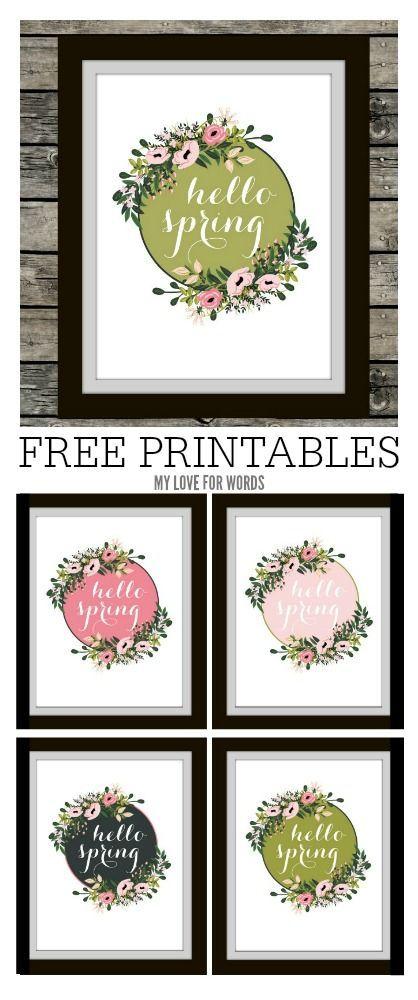 Hello Spring Free Printables | PRINTABLES | Pinterest | Primavera ...
