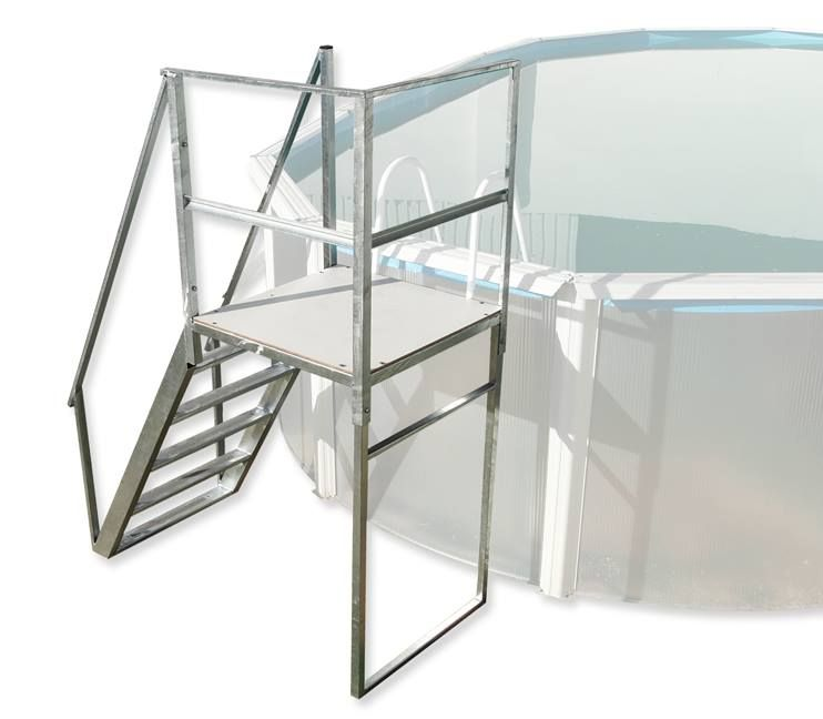 Espectacular plataforma con escalera disponible desde ya for Escaleras de piscina