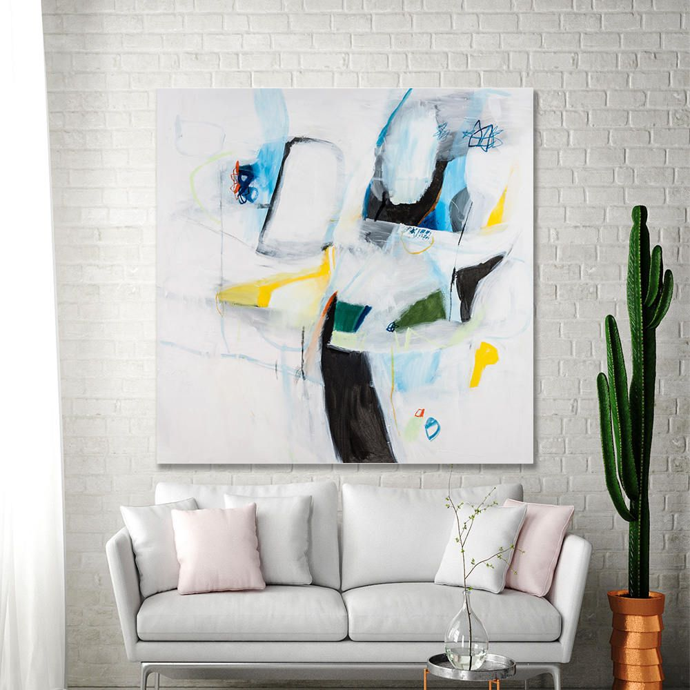Abstract painting original large canvas art white painting with blue