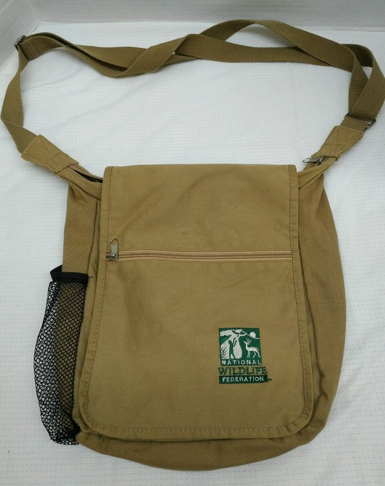 medium resolution of national wildlife federation khaki brown canvas messenger bag unbranded messengershoulderbag