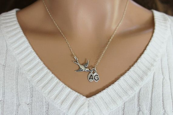 Bird Necklace Sideways Initial Necklace His and by JewelryStyles, $29.00
