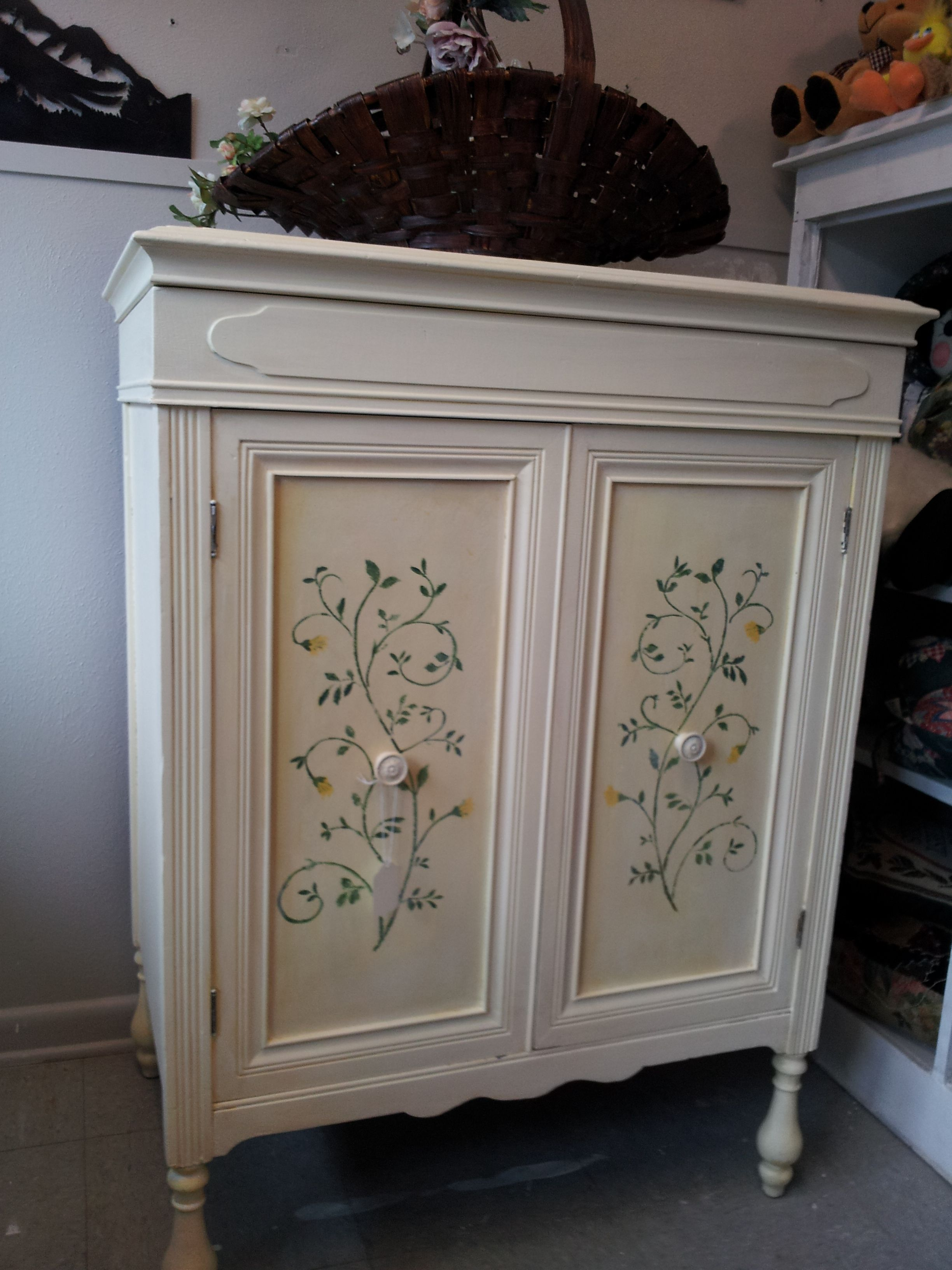 Repurposed Victrola Cabinet Hand Painted Stenciled