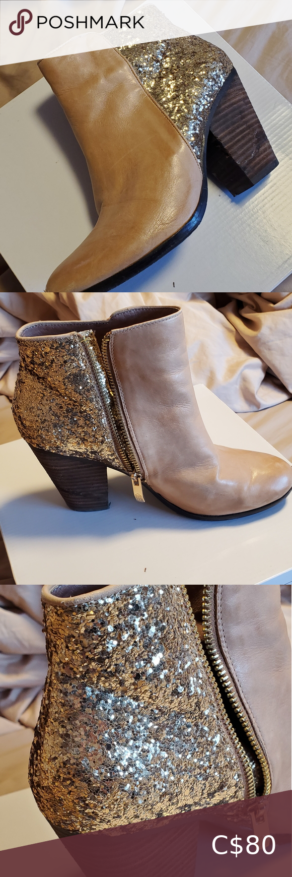 Vince camuto beige gold booties (rarely worn)