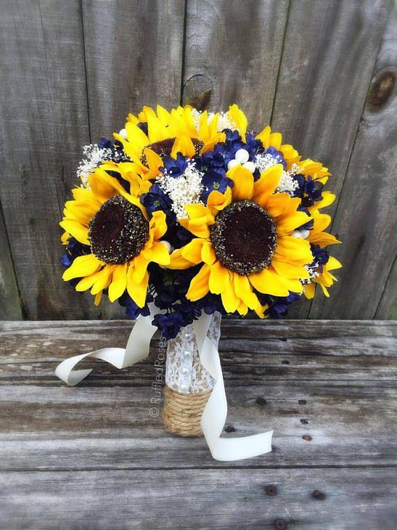 Sunflower Bouquet, Navy Sunflower Bouquet, Bridal Bouquet, Wedding ...
