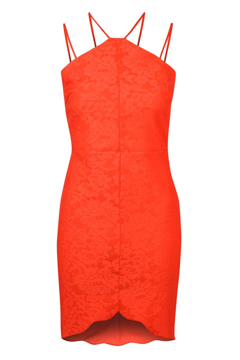 Wal g wrap detail dress with metallic stripe in blue navy lyst - Topshop Tall Strappy Back Bodycon Dress In Orange Lyst