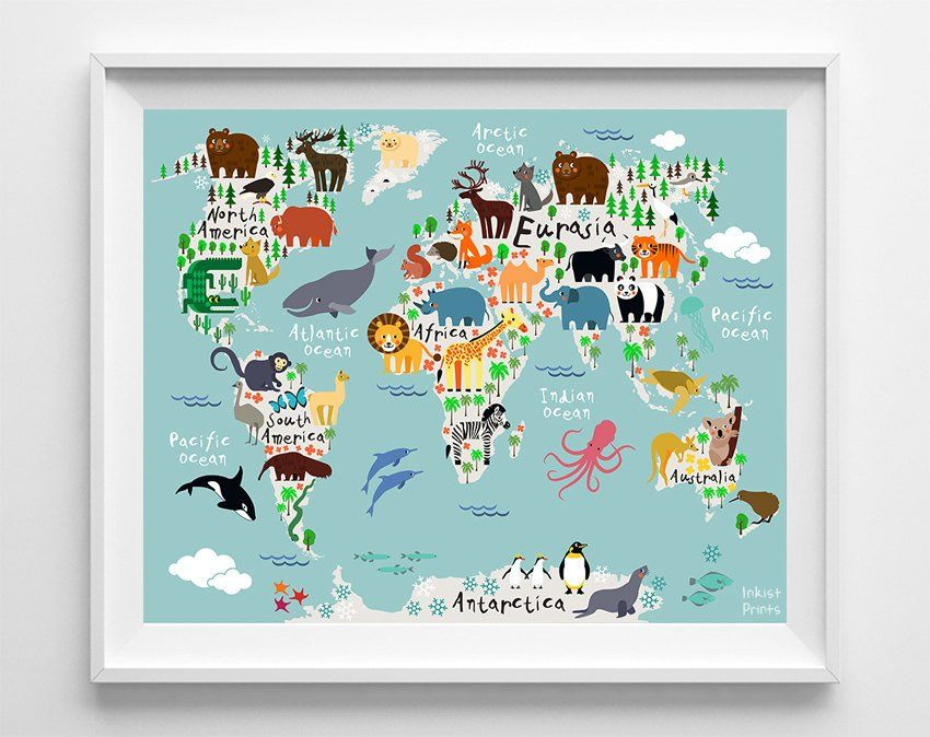 Animal world map teal background print teal background and teal animal world map teal background print gumiabroncs Choice Image