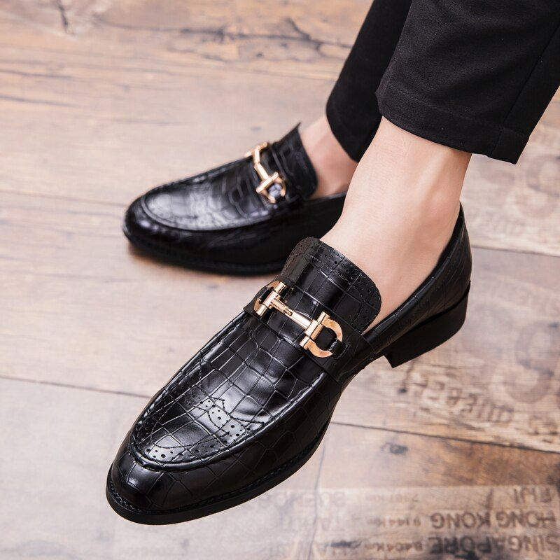 Details about  /Mens Low Top Leather Shoes Pointy Toe Buckle Work Buiness Crocodile Print Casual