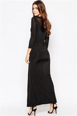 daa813f3f392c Merry See Şık Bacak Dekolteli Siyah Uzun Elbise | RedKombin | Şık
