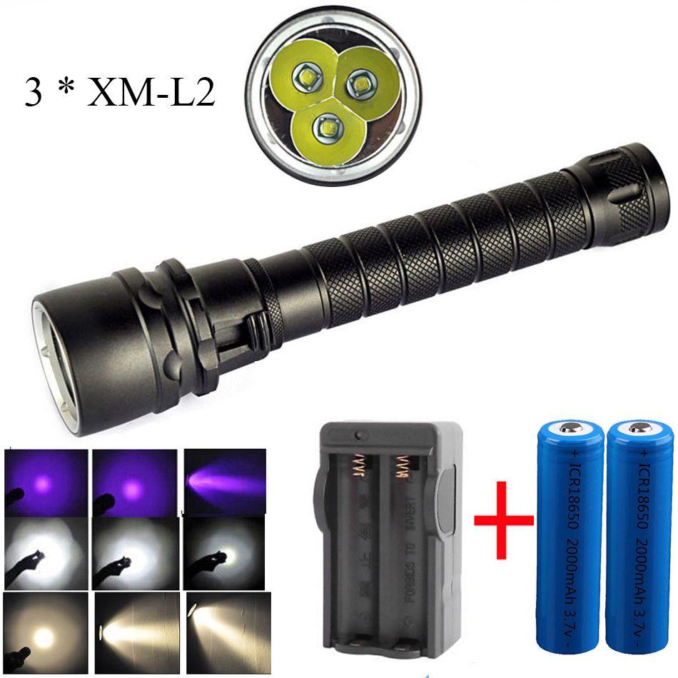 Led Diving Flashlight Uv White Yellow Light 3 Cree Xm L2