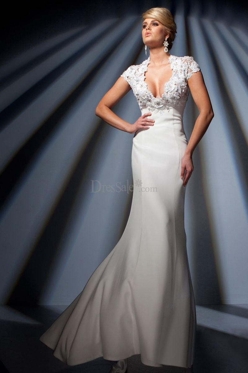 Nobel queen anne vneckline sheath white prom dress with keyhole
