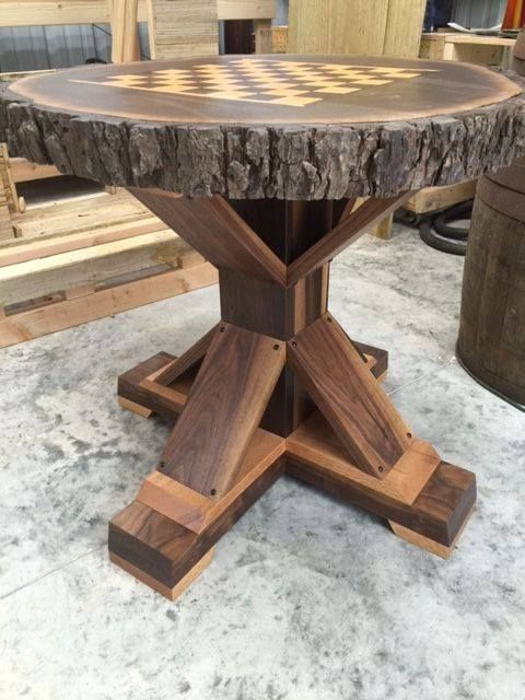 Custom Made Chess Table Set In A Walnut Tree Slab With