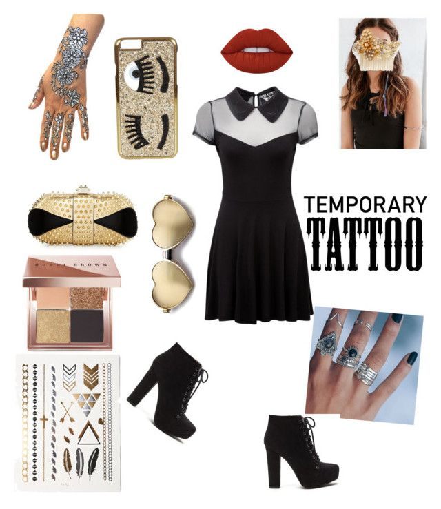 """Untitled #104"" by fashionforwardfaith ❤ liked on Polyvore featuring Killstar, Lime Crime, REGALROSE, Miriam Haskell, Bobbi Brown Cosmetics, Christian Louboutin, Chiara Ferragni, Wildfox and temporarytattoo"