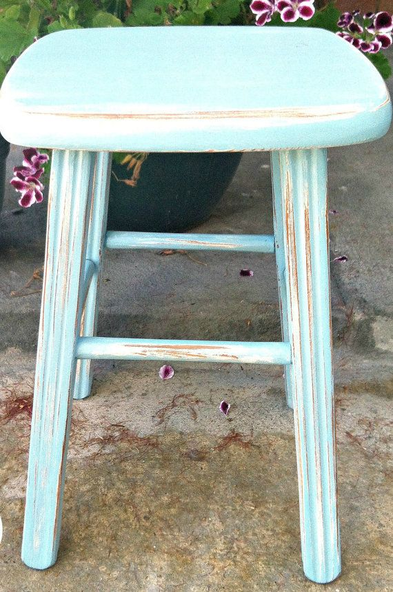 Aqua Stool, distressed and lovely!