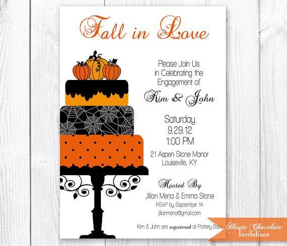 3761b5f74cc Fall Cake Bridal Shower Invitation. Halloween Engagement Shower Invitation. Printable  Halloween PartyInvitation. on