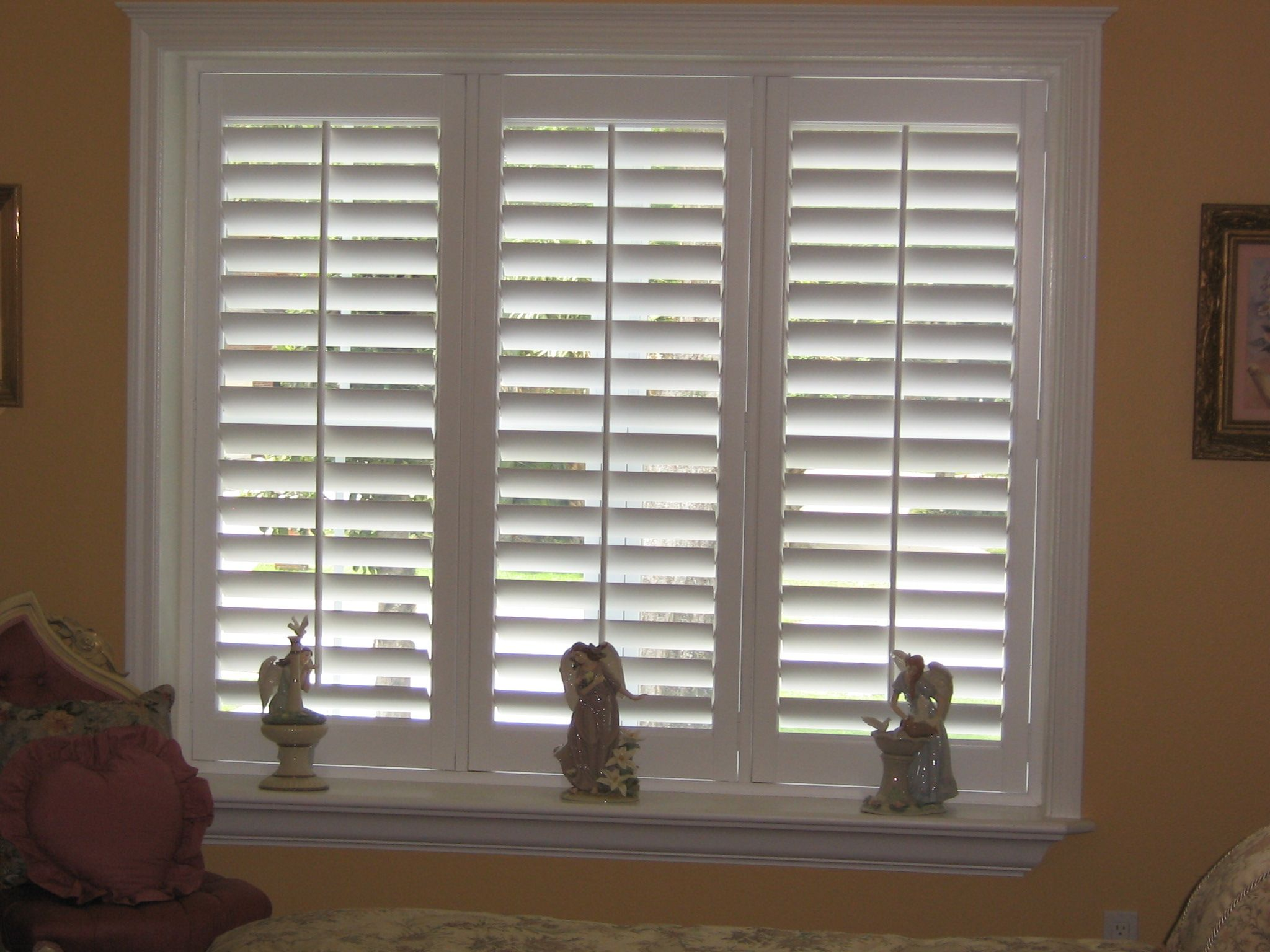 White Wood Shutters For A Standard Sized Window. Shades Creation  Boca  Raton And West Palm Beach, FL.