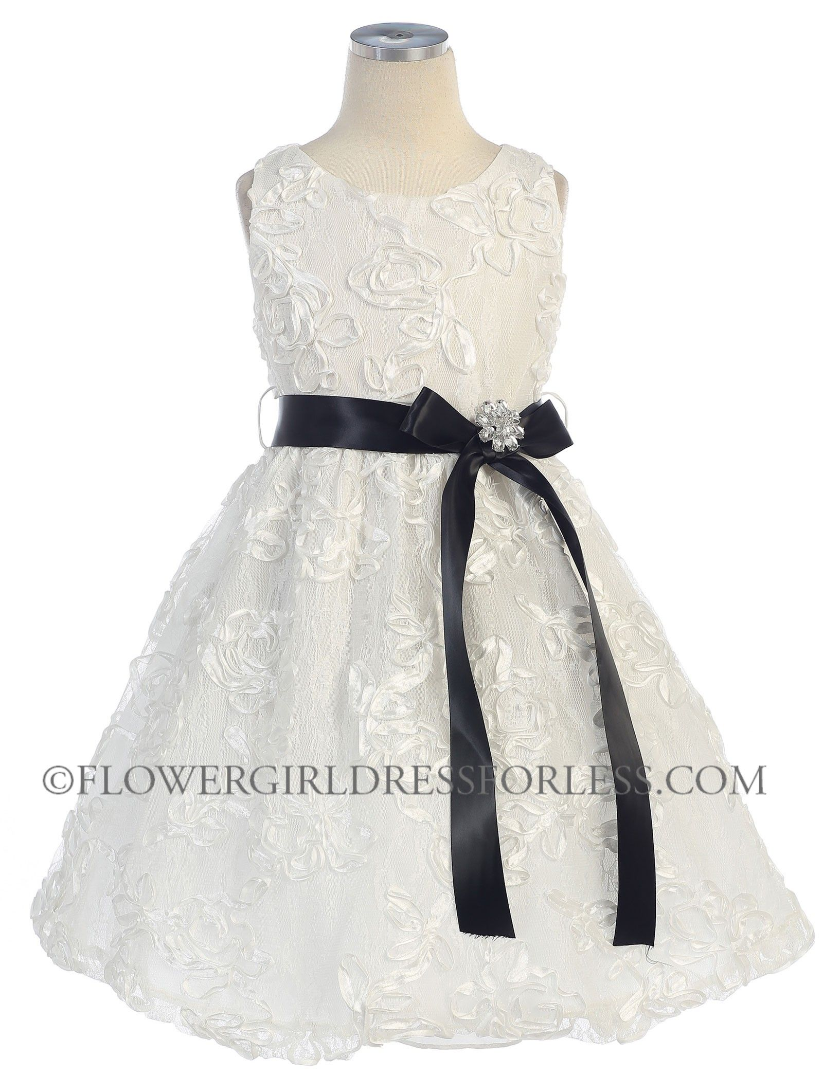 Girls dress style off white embroidered lace dress with satin