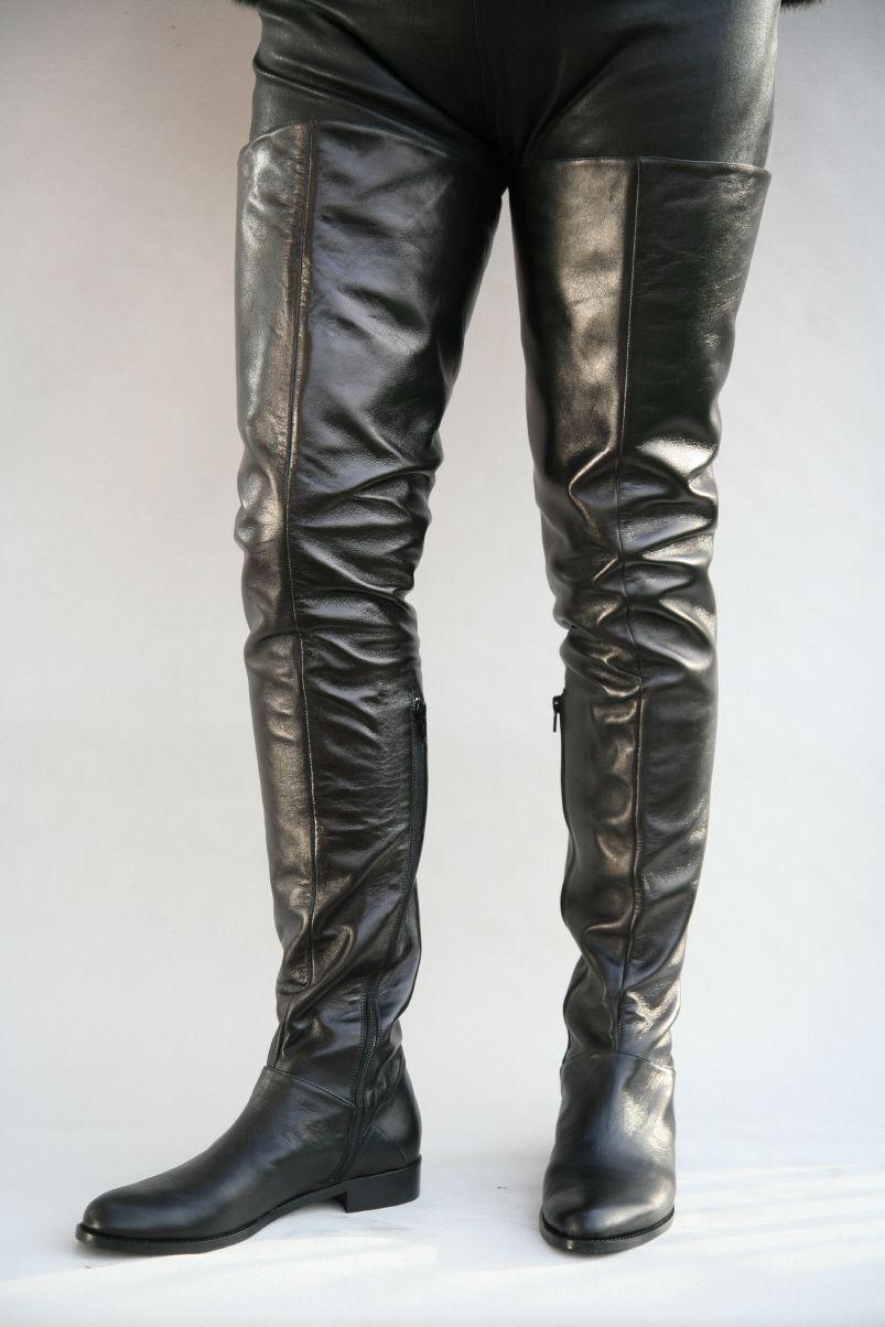Schwarzer Overknee Lederstiefel | Lederstiefel, Männer