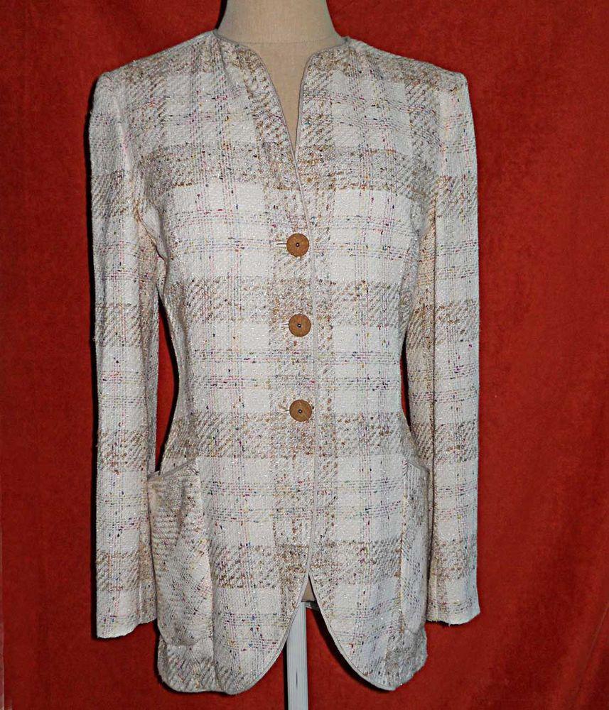 Deadstock NOS Vintage 80s Emanuel Ungaro Jacket Tunic Pastel Tweed Cream 8