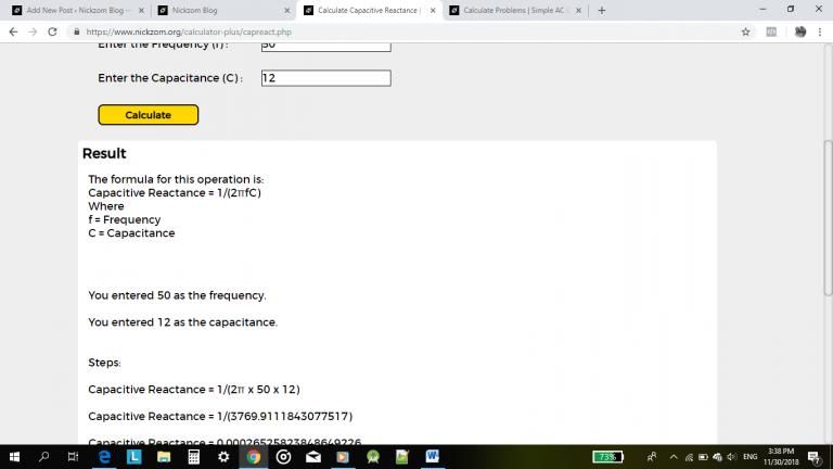 Nickzom Calculator Calculates the Capacitive Reactance of a