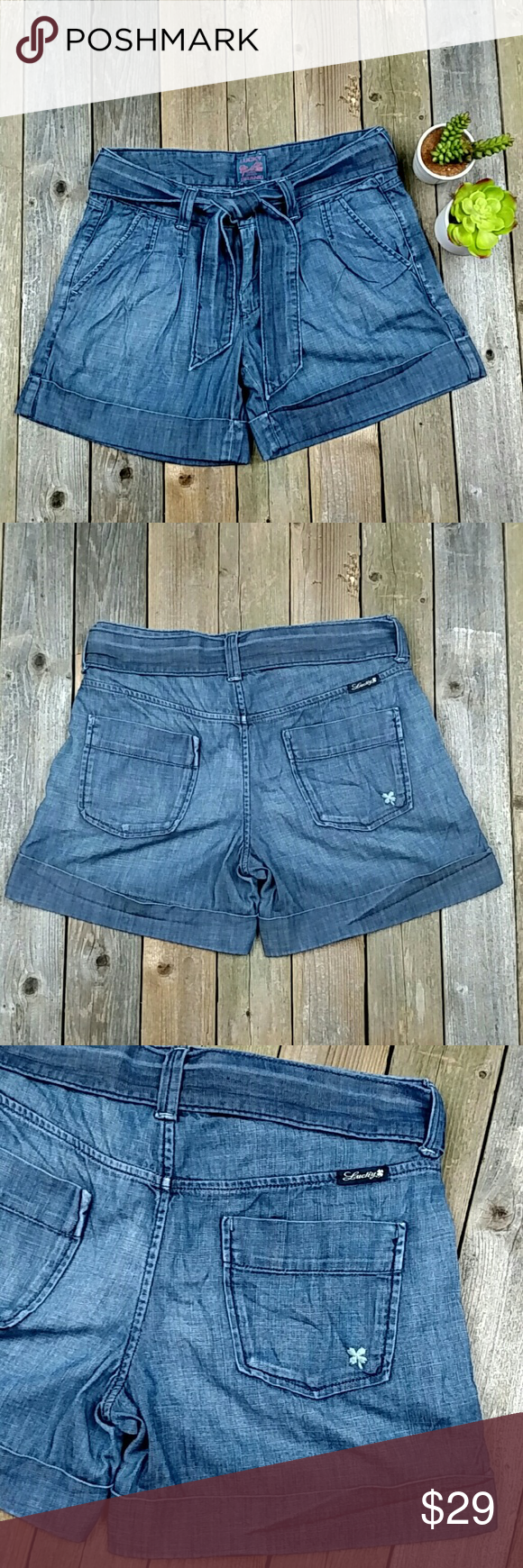 "Lucky Brand Cuffed Pleated Tie Shorts (4/27) Adorable, thin denim shorts. No stretch. 4.5"" inseam, 8.5"" rise, and 15"" across waist; laid flat. Size marked is 4 or 27. Color is like the first 3 pictures. No trades! EUC Lucky Brand Shorts"