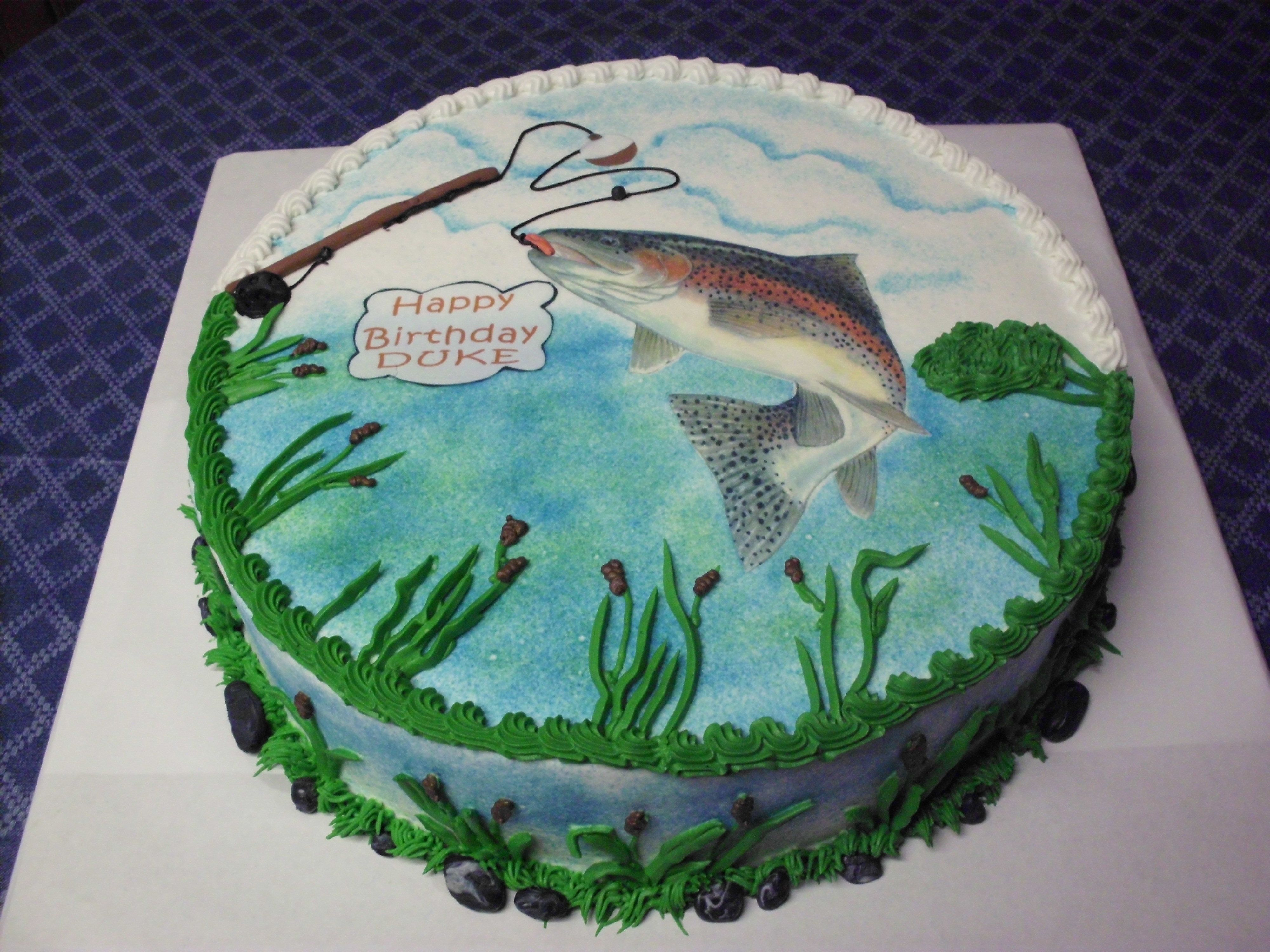 Rainbow Trout Birthday Cake - Rainbow Trout is an edible image ...