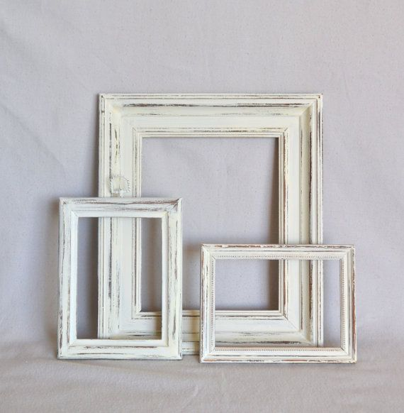 Shabby Chic White Wooden Frames - Set of 3 | Wooden frames, Shabby ...