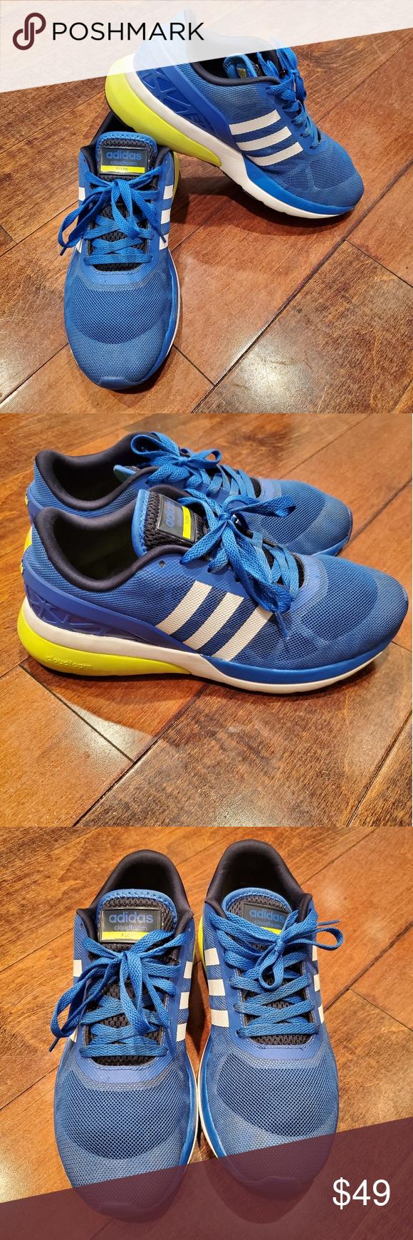 Adidas Neo Cloudfoam Flow Blue/White/Yellow sz 10 | Adidas neo ...