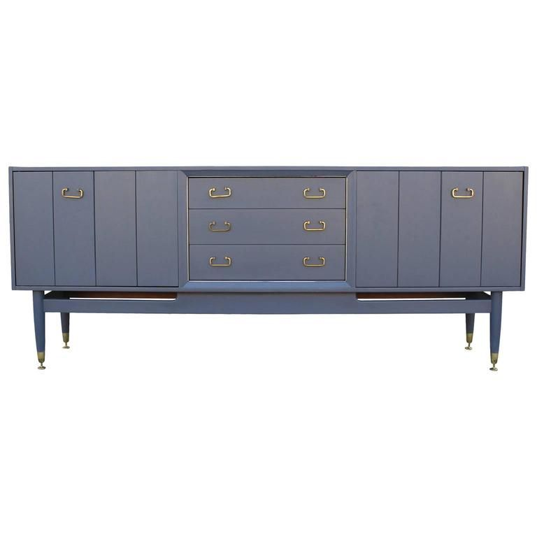 French Blue Grey Sideboard with Shiny Brass Hardware French blue - sideboard für küche