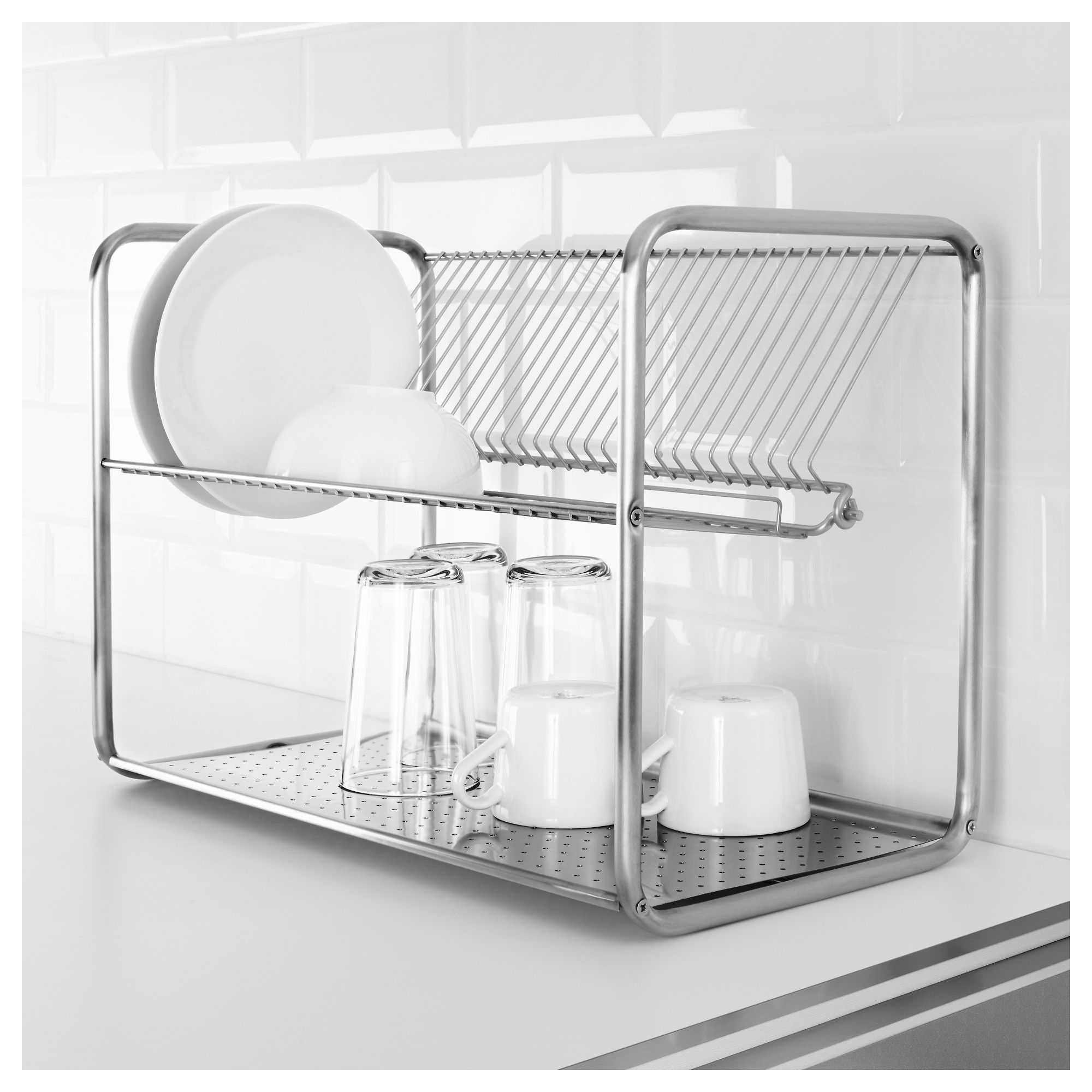 Ordning Dish Drainer Stainless Steel 19 5 8x10 5 8x14 1 8 50x27x36 Cm Dish Drainers Dish Rack Drying Ikea Kitchen Accessories