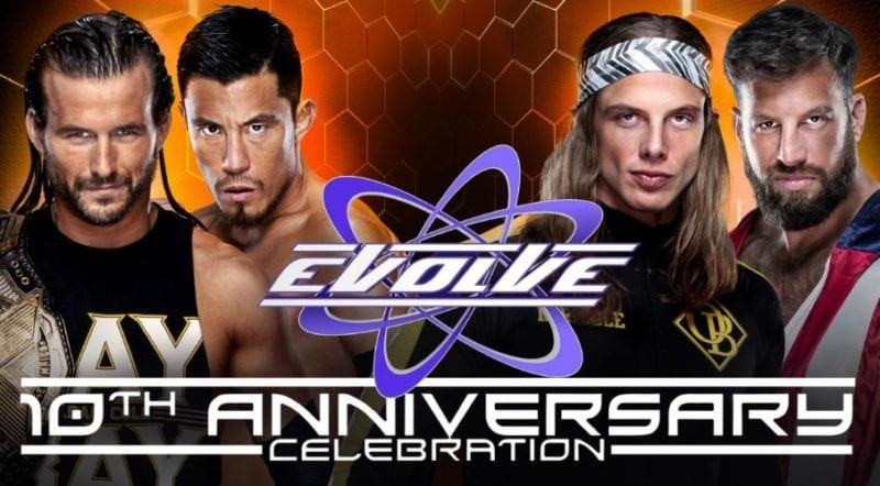 Card set for evolve show airing on wwe network opposite of