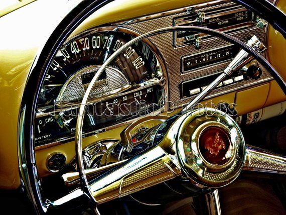 Pontiac Chieftain photograph 1954 classic car dashboard steering wheel Instant download photo golden interior automobile photography art