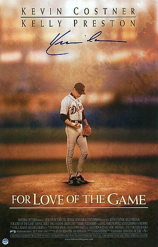Kevin Costner Autographed For The Love Of The Game 11x17 Movie Poster Authentic Signed Autograph Detai Baseball Movies Kevin Costner Original Movie Posters