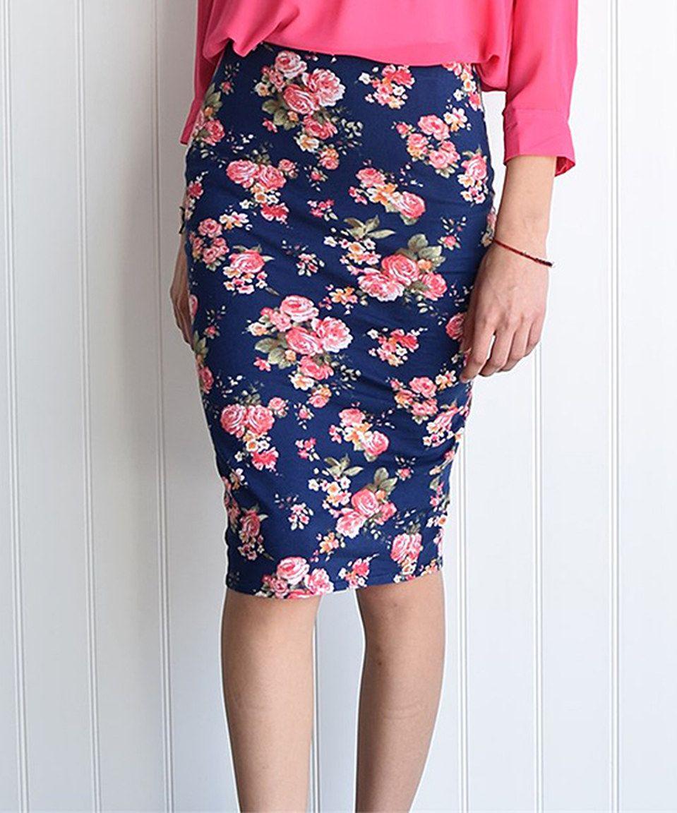 éloges Navy & Pink Floral Pencil Skirt - Women | Floral pencil ...