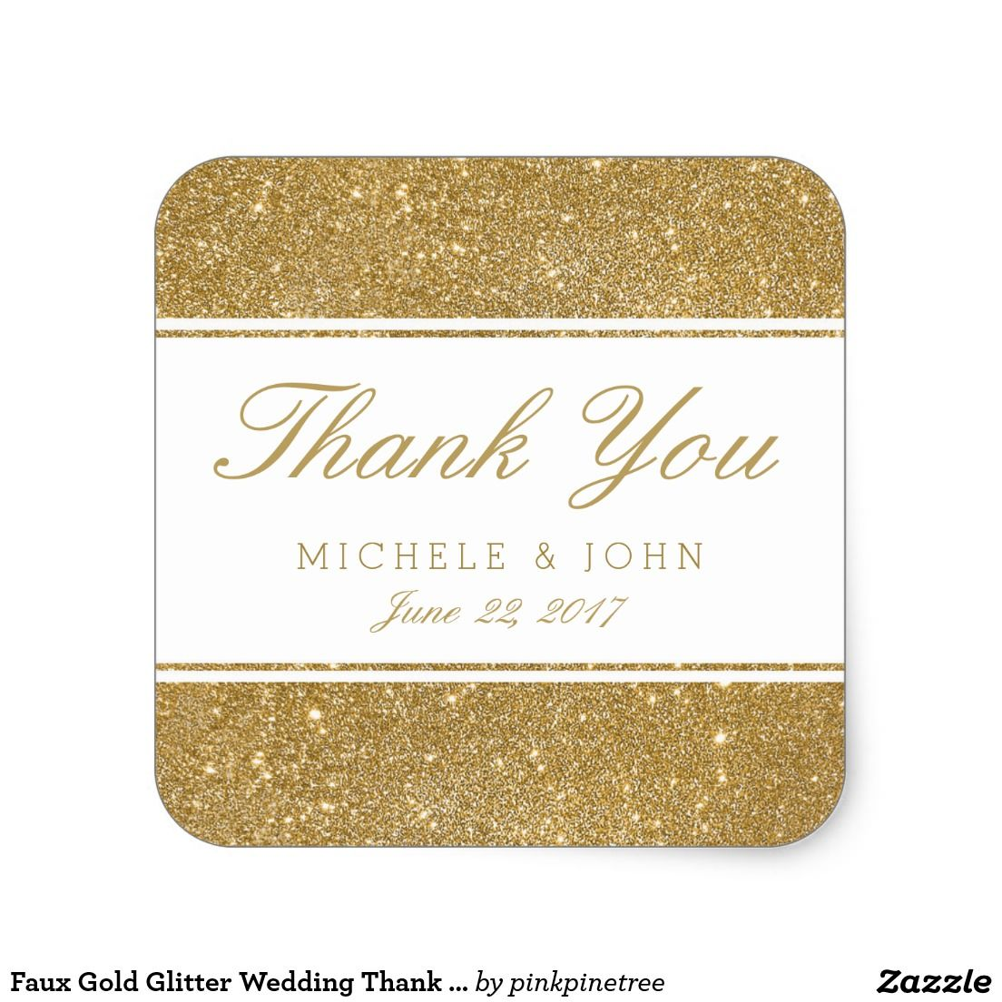 Faux Gold Glitter Wedding Thank You Favor Stickers | Jared & Mandys ...
