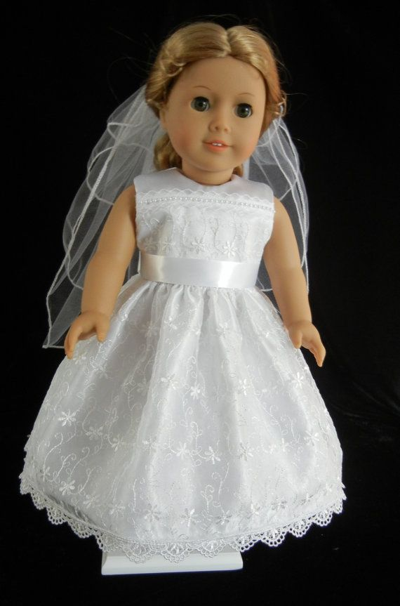 Sleeveless first communion wedding or flower girl dress for American girl wedding dress