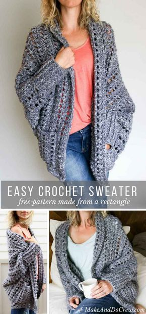 Easy, Chunky Crochet Sweater  Free Pattern! is part of Knitting and Crochet Sweater Free Pattern - Creatively constructed from a simple rectangle, this flattering chunky crochet sweater comes together easily with no shaping  Free pattern & video tutorial!