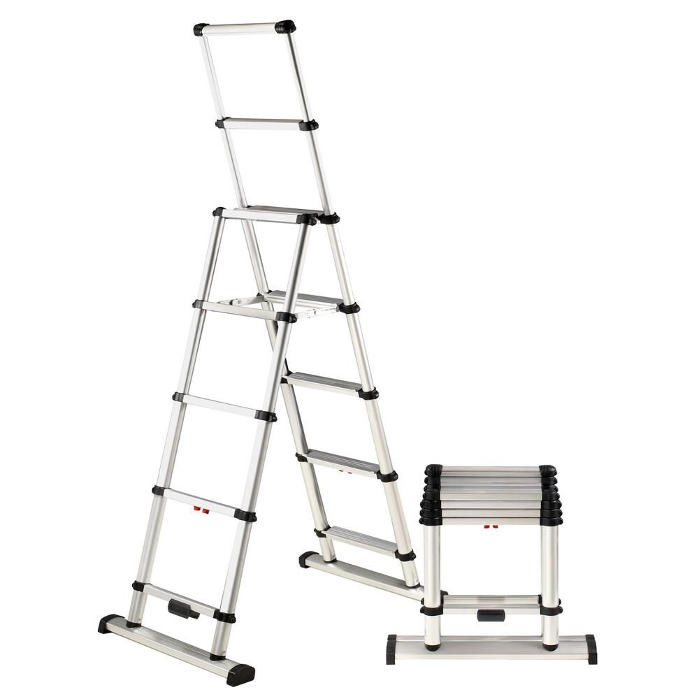 Telesteps 6 Ft Aluminum Professional Wide Step Telescoping A Frame Ladder Osha Compliant With 10 Ft Reach Height 10es